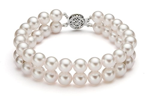 14K Or Blanc Double brins perle de culture d'eau douce blanc bracelet de qualité AAA, 20,3cm