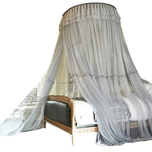 RANRANHOME Moskitonetz Betten Kuppelbett Baldachin Netting Princess Moskitonetz - konische Home und Travel - Baldachin hängen Kit, schnelle, einfache Installation,Gray - Runde Baldachin Kit