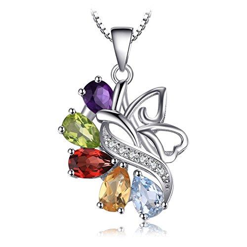 Jewelrypalace 1.78ct Natürliche Bunt Amethyst Citrin Granat Peridot Topas Anhänger Halskette Kette 925 Sterlingsilber