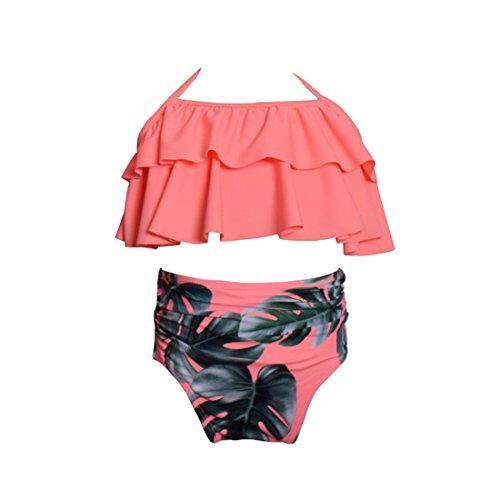 Inlefen 1 Set Kids Girls Bikini Traje de baño Conjunto de la Colmena de Estampado Floral de Cintura...
