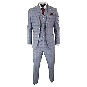 58fbc5bfa48 Mens 3 Piece Blue Grey Tailored Fit Complete Suit Classic Check Vintage  Retro Style