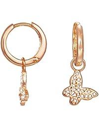 ESPRIT Damen-Creolen JW50219 Ohrringe Schmetterling rhodiniert Glas