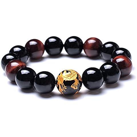 Merdia Pulsera para hombre con piedras originales de ojo de tigre y caja de regalo
