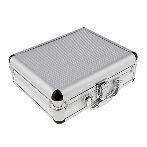 Gepolsterte Lagerung (FLAMEER Tätowierungs Tragekoffer Lagerung Gepolsterte Aufbewahrungsbox Maschinenwerkzeuge Sperren Aluminium)