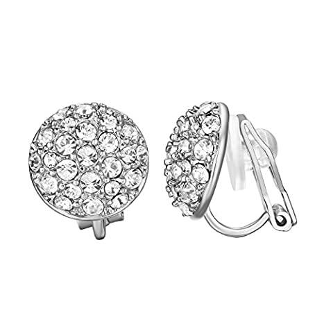 Yoursfs Round CZ Diamante Clip On Earrings for Women 18ct White Gold Plated Crystal Half Ball Earrings Girl's