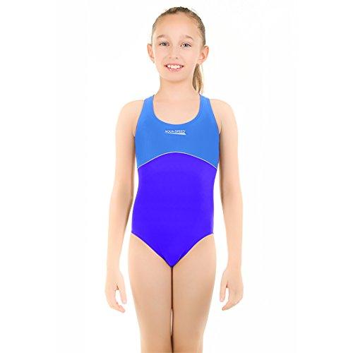 AQUA-SPEED® ROSE Badeanzug (Mädchen Teenager Größen 116-146 UV-Schutz Elastisch Gemütlich Blickdicht Chlorresistent), Farbe:blue - light (22 Größe Badeanzug)