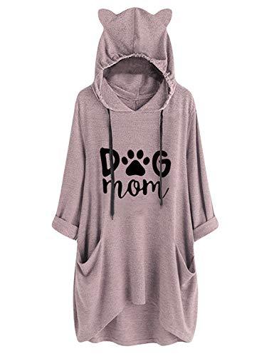 YUHX Dog Mom Hoodies Damen Oberteil Lange Tops Grafik Kapuzenpullover Katzenohr Sweatshirt Tunika Bluse mit Taschen -