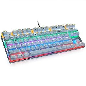 BOWCORE mechanische Gaming-Tastatur, kabelgebunden, 87/104 Tasten, Anti-Ghosting LED, Hintergrundbeleuchtung, LCD für Gaming, Laptop Computer, weiß, 87 Keys