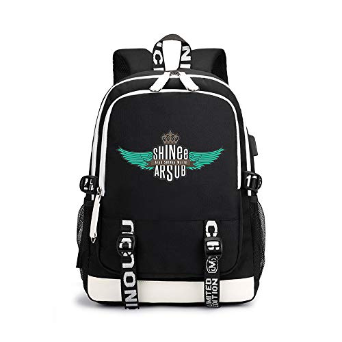 Shinee Rucksäcke Trendy Fashion Light Wandern Bag Lässige Sport Mode Rucksack Shinee Backpacks (Color : Black04, Size : 30 X 15 X 43cm)