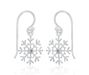 Tuscany Silver Sterling Silver Snowflake with White Cubic Zirconia Drop Earrings