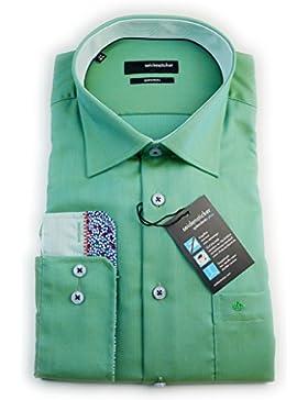 Seidensticker Herren Hemd Splendesto Regular Fit grün strukturiert mit Patch Gr. 38 - 44 / 186476.77