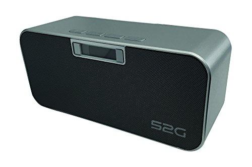 S2G HEAVY METAL Bluetooth Stereo Lautsprecher, FM Radio, USB, Micro SD, Freisprecheinrichtung, Wecker, Alarm, beleuchtetes Display, Uhrzeit, Energiesparmodus - Silber/Schwarz