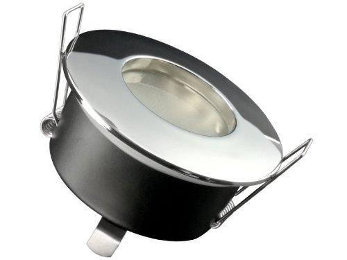 LED Einbau-Strahler für Bad, [Feuchtraum IP65], Einbau-Leuchte RW-1 chrom, SMD 3,5W warm-weiß, GU10 230V [FÜR IHR BAD...aber nicht nur, leichter EINBAU, tolle LEUCHTKRAFT, LICHTQUALITÄT, VERARBEITUNG] für Innen Außen, Carport Vordach -