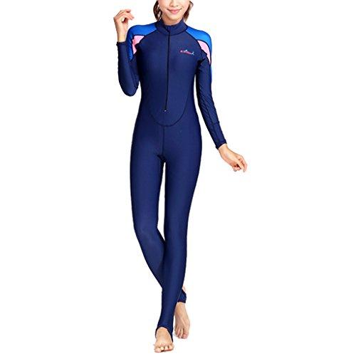 Gazechimp Ganzkörper Tauchanzug lang Reißverschluss (Damen / Herren Auswählbar), Super Stretch Bademode, Full Wetsuit - Rosa für Frauen, S (Wetsuit Frauen Für Full)