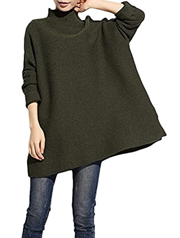 MatchLife Women's New Basic High Collar Knitted Sweater Style1 Army Green