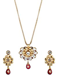 Voylla Traditional Alloy With Yellow Gold Plating Cubic Zirconia Pendant Sets For Women