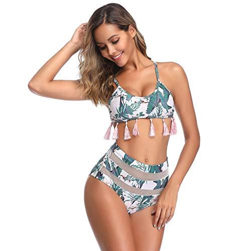 SHE.White Damen Blätter Drucken Quaste Badeanzug Bikini Set Sexy Mesh Schwimmanzug Hals Hängen Hohe Taille Zweiteiler Strand Swimwear Strandkleidung