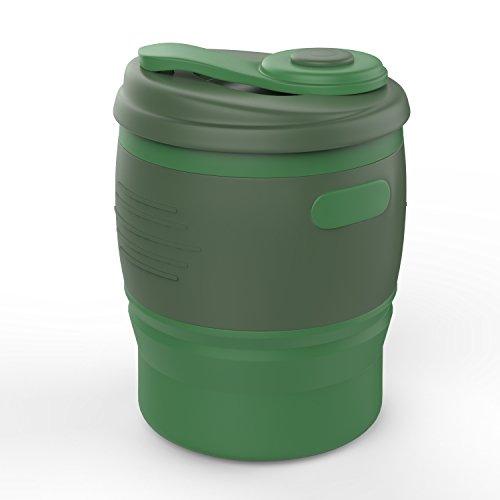 MoKo Faltbar Kaffeetasse - Tragbarer 350ML Kaffeebecher mit Deckel, BPA-Frei Silikon, 12 oz, Mehrweg Reisebecher zusammenklappbarer Tee Tasse für Camping Outdoor, Reise, Lesen, Schule, Armee-Grün