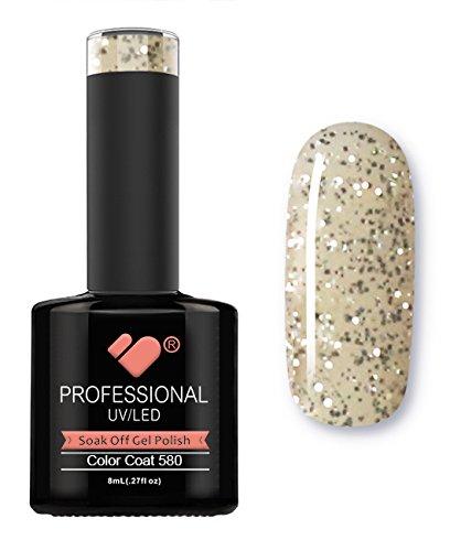 580 VB Ligne transparente à paillettes Argenté Couleur Super Vernis UV/Led Soak Off Vernis à ongles gel