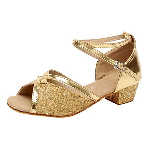 feiXIANG Mädchen Baby Sandalen Kind Lateinisch Tanzschuhe Prinzessin Schuhe Leopard Kleinkind Shoes Outdoor Freizeitschuhe (Gold,34)
