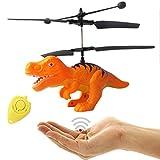 Fliegender Dinosaurier T-Rex Hubschrauber (Orange) mit hellen LED Licht-Einfach zu Steuern mit der Hand!Das Spielzeug für Jung und Alt!Der Megaspaß und Gag auf jeder Party als Geburtstagsgeschenk