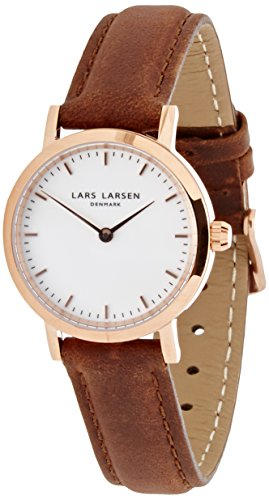 Lars Larsen  Women's Quartz Watch with White Dial Analogue Display and Brown Leather Strap 124RWBL