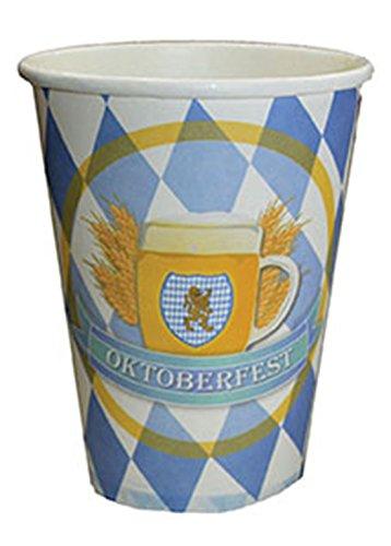 Confettery - Motto-Party Papier-Trinkbecher mit Wappen Oktoberfest, Rauten, blau weiß, (Kostüm Karton Bier)