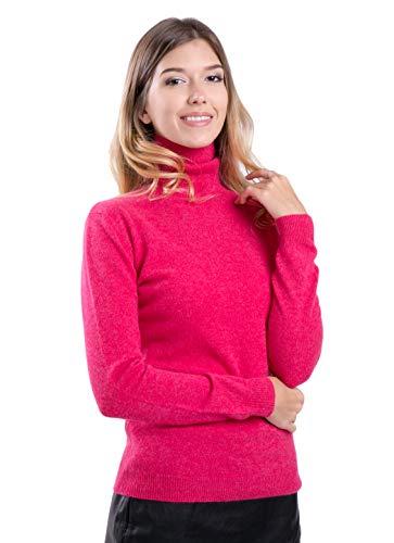 cashmere 4 U 100% Kaschmir langärmliger Rollkragen-Pullover für Damen (M, Litchi)
