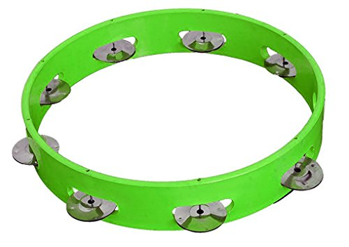 Dhingra Musicals - Tambourine Hand Percussion Musical Instrument 9 inch without Skin, Multi Colour