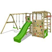 FATMOOSE Climbing frame ActionArena XXL with double swing, slide, climbing wall and lots of accessories