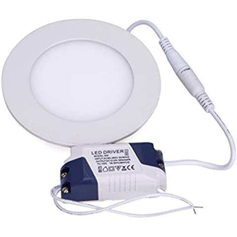 LEORX Plafón LED Downlight Panel Lámpara de Techo Aplique de Pared 6W 3000-3500K (Blanco cálido)