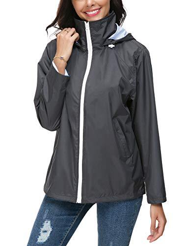 ZHENWEI Windbreaker Damen Outdoorjacke Regenmantel Atmungsaktive Sport Outdoor Regenjacke Kapuzenjacke Grau Große Größen