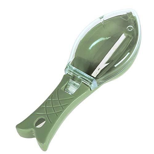 Domybest écailleur à Poisson en Plastique Grattoir à Ecaille de Poisson avec Couvercle Outil pour Enlever Les écailles de Poisson (Vert)
