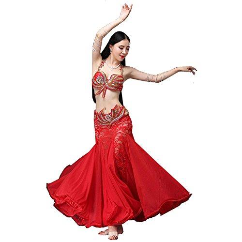 Rock Spitze-bauch-tanzen-tanzen (Bauch tanzen Performance kostüm Frau Handmade Diamant perlen BH Bund groß Swing Spitze Rock Safe Kurze Hose modern Set red l)