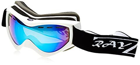 Rayzor Professional UV400 Double Lensed Ski / SnowBoard Goggles, With a White Frame and an Anti Fog Coated, Vented Blue Iridium Mirrored Anti-Glare Wide Vision Clarity Lens