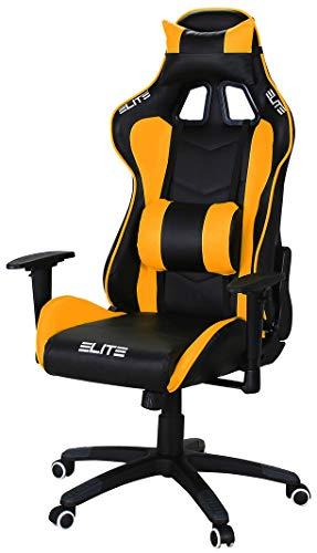 ELITE Racing Gaming Stuhl MG-200 - Bürostuhl - Kunstleder - Ergonomisch - Racer - Drehstuhl - Chair - Chefsessel - Schreibtischstuhl (Schwarz/Orange) -