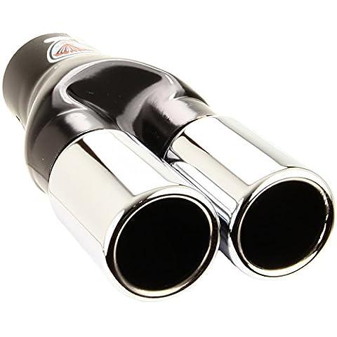Handycop® Auspuffblende Duplex Doppelentrohr Chrom für Auspuff Endtopf - 2x 50mm Rund Gerade Edelstahl poliert zum