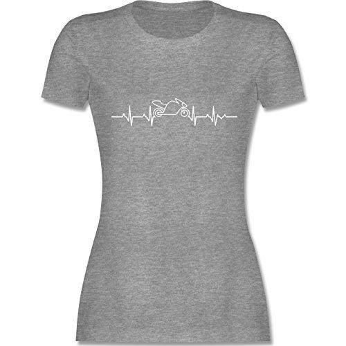 Motorräder - Herzschlag Motorrad - M - Grau meliert - L191 - Damen Tshirt und Frauen T-Shirt