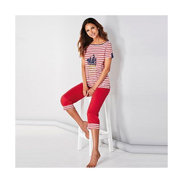Pijama Camiseta de Escote Barco con Vivo a Contraste Mujer – 012893
