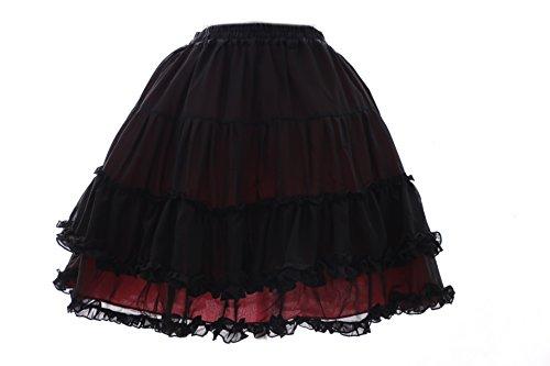 JL-593 rot schwarz Punk Visuel Kei Harajuku Tutu Rock skirt Gothic Lolita stretch (Prinzessin Kostüme Punk Rock)