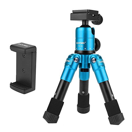Zomei CK-30 Ultra Compact Aluminium Alu Macro/Mini Stativ Tisch mit 360 Grad Panorama Kopf für Canon Nikon Sony DSLR Kameras und Smartphones-Blau