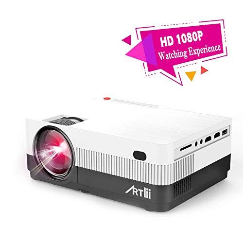 Proiettore Portatile - con Zoom, Artlii Videoproiettore HD, Supporta 1080P con AV/VGA/USB/HDMI/TF, Connessione a TV Stick/Chromecast