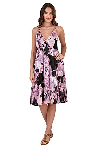 Pistachio Womens Floral Print Cotton Strappy Short Dress Summer Beach Wear