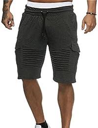 (͡° ͜ʖ ͡°) LMMVP Short pour Homme Sport Jogging et d entraînement Fitness  Pantalon Court Jogging Pantalon Bermuda Pochette… 31d672ee83d