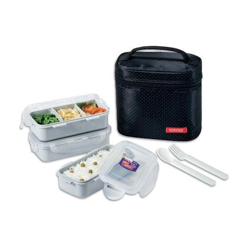 Lock & Lock Brotzeitbox Lunch Box Bento Set w/Chopstics - HPL754DB COMBO, Black Bento Lunch Box Case