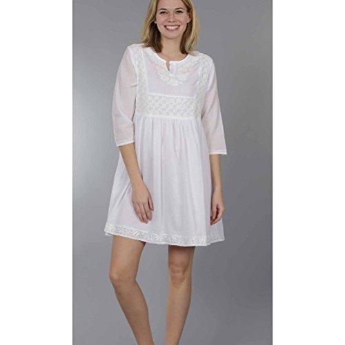 Zen*Ethic - Robe à Plastron Brodée Main - Popeline de coton Blanc