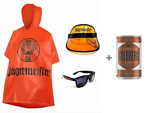 Jägermeister Fan Set - 3teilig bar reklame Party Festival beachparty Fasching + Goldberg Intense Ginger 0,15l EINWEG