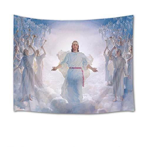 EOB Christian Tapisserie Wandbehang,Sohn Gottes Jesus Christus segne Kunstdruck-Tapisserie-Hauptdekoration für Schlafzimmer-Wohnzimmer-Schlafsaal,200x150cm