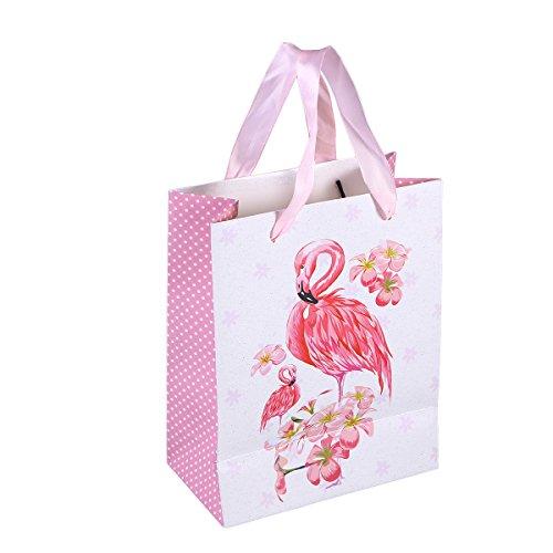 Amosfun 10 stücke Geschenk Papiertüten mit Flamingo Muster Band Griff Geschenk Taschen Einkaufstaschen Süßigkeiten Taschen für Kinder Geburtstag Hochzeit Party Supplies Favor
