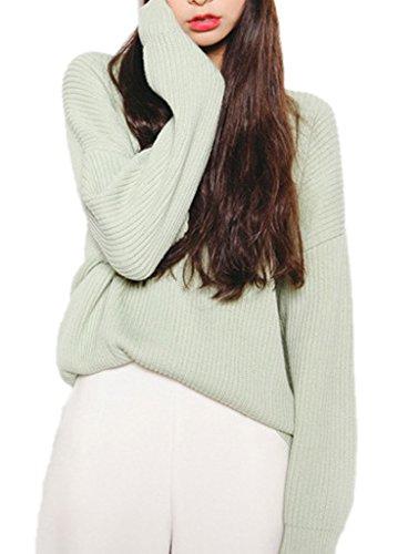 Smile YKK Pull Tricoté Femme Sweat Col Rond Tops à Manche Longue Veste Automne Hiver Chic Beige Vert